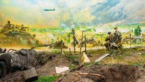 Diorama die de nederlaag van Nazitroepen afschilderen in Wit-Rusland Belarusi stock afbeelding