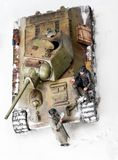 Diorama with old soviet t 34 tank. Top view Stock Photos