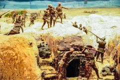 The diorama by Peter Corlett which depicted the difficult conditions endured by the Australian soldiers who fought on the Western. CANBERRA, AUSTRALIA stock image