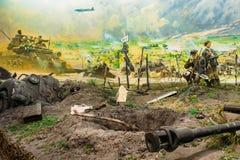 Dioramaen som visar nederlaget av nazisten, gå i skaror i Vitryssland Vitryskt museum Royaltyfria Bilder