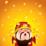 Dios chino de la abundancia Lingotes de oro que caen libre illustration