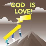 Dios conceptual de la demostración de la escritura de la mano es amor Creencia de exhibición de la foto del negocio en Jesús que  libre illustration