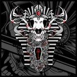 Dios de Anubis de los muertos, con la serpiente - vector ilustración del vector