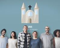 Dios de la iglesia cree a Jesus Pray Imagenes de archivo