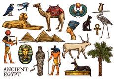 Dios de la religión de Egipto antiguo, pirámide del pharaon, momia ilustración del vector