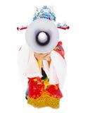 dios de la riqueza que sostiene un megáfono Aislado en blanco Imagenes de archivo