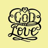 Dios de las letras de la mano es amor con el corazón ilustración del vector