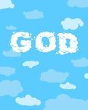 Dios de nubes Texto blanco nublado en fondo divino azul libre illustration