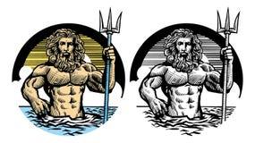 Dios de Poseidon en estilo clásico de la pluma stock de ilustración