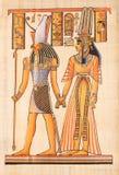 Dios egipcio Horus en el papiro fotografía de archivo libre de regalías