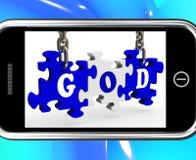 Dios en Smartphone que muestra rezos Imagen de archivo libre de regalías