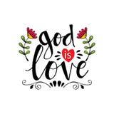 Dios es letras de amor stock de ilustración