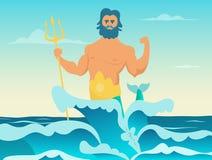 Dios griego de Poseidon del mar libre illustration