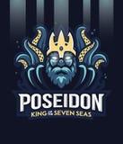 Dios griego de Poseidon del mar siete stock de ilustración