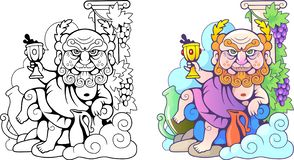 Dios griego Dionysus, ejemplo divertido, libro de colorear ilustración del vector