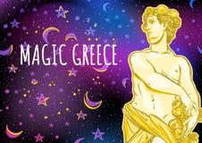 Dios griego hermoso en fondo mágico del espacio El héroe mitológico de Grecia antigua Ejemplo del vector del espacio exterior stock de ilustración