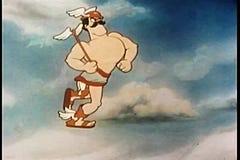 Dios griego Mercury que corre en el cielo almacen de video