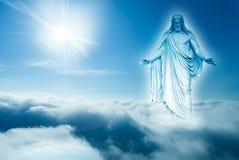 Dios mira abajo del concepto del cielo de religión