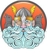 Dios Odin y el suyo ravens ilustración del vector