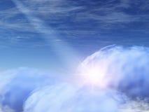 Dios-rayos y estrella en nubes celestes Foto de archivo