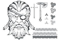 Dios supremo escandinavo de la mitología nórdica - Odin Dibujo de la mano de Odin Head Carácter barbudo del hombre de la historie stock de ilustración