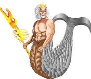 Dios supremo Poseidon del mar con un personal bajo la forma de esqueleto del ` s de la criatura del mar ilustración del vector