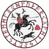 Dios Wotan, montando en un caballo Sleipnir con una lanza y dos cuervos en un círculo de runas nórdicas Ejemplo de los nórdises libre illustration