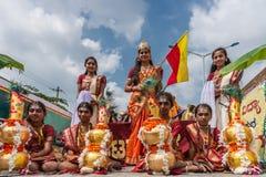 Diosa Bhuvaneshvari en el desfile de Karnataka Rajyotsava, Mellahalli foto de archivo libre de regalías