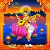 Diosa de la sabiduría Saraswati para el fondo del festival de Vasant Panchami India ilustración del vector