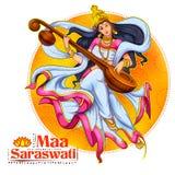 Diosa de la sabiduría Saraswati para el fondo del festival de Vasant Panchami India libre illustration