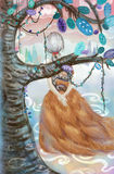 Diosa del paseo del otoño a través del árbol Imagen de archivo