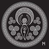 Diosa espiral antigua: Esta diosa delicada representa los poderes creativos del círculo femenino, e interminable divino o libre illustration