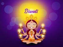Diosa Kali con las velas para Diwali Foto de archivo libre de regalías