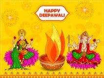 Diosa Lakshmi y Lord Ganesha para el día de fiesta feliz del festival de Diwali ilustración del vector
