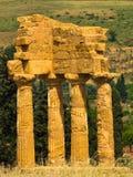 Dioscuri,铸工和Polux寺庙在寺庙的阿哥里根托谷,西西里岛 库存照片