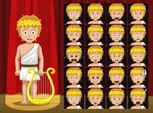 Dioses griegos Apollo Costume Cartoon Emotion hacen frente al ejemplo del vector Fotografía de archivo