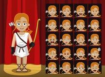 Dioses griegos Artemis Costume Cartoon Emotion hacen frente al ejemplo del vector Imágenes de archivo libres de regalías