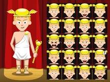 Dioses griegos Hermes Costume Cartoon Emotion hacen frente al ejemplo del vector Fotografía de archivo libre de regalías