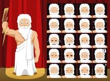 Dioses griegos Zeus Costume Cartoon Emotion hacen frente al ejemplo del vector Fotografía de archivo libre de regalías