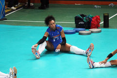 Diouf stretching. Valentina diouf player of the italian national team during the warm up of a world cup match stock photo