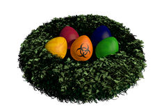 Dioxin nest. Easter nest with colorful eggs and orange bio hazard egg Vector Illustration