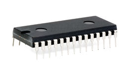 Dip-28 chip over white Stock Photo