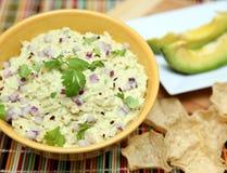 Dip. A bowl of chicken avocado dip Stock Photo