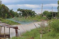 Dip net for fishing. stock photo