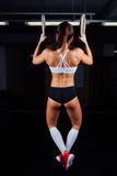 Dip ring woman workout at gym dipping exercise. royalty free stock images