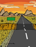 Dip In The Road. Road with dip and blank sign in a desert area during sunset Royalty Free Stock Photos