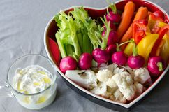 Dip tray full of vegetables royalty free stock photography