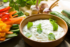 Dip with vegetables royalty free stock photos