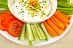 Dip and Vegetables Royalty Free Stock Photography