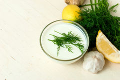 Dip of yogurt, dill and garlic. Creamy sauce with yogurt dip with dill and garlic to the vegetable and meat dishes stock image